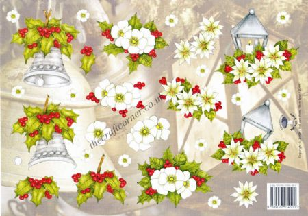 Christmas Rose With A Lantern & Bell 3d Decoupage Sheet
